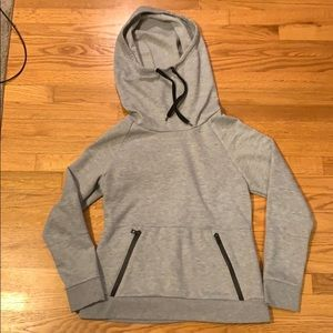 Red Fox Cowl Neck Hoodie with Zipper Front Pocket